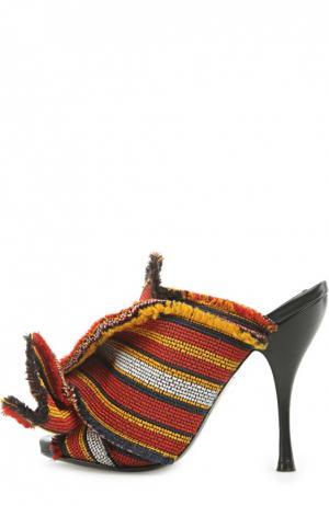 Текстильные мюли с декоративным узлом No. 21. Цвет: красный
