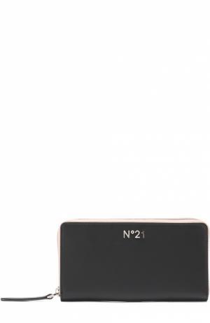 Кожаное портмоне с принтом на молнии No. 21. Цвет: черный