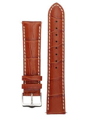 Ремешок для часов с контрастной строчкой из теленка фактурой под аллигатора. Ширина от 14 до 24 мм Signature. Цвет: рыжий
