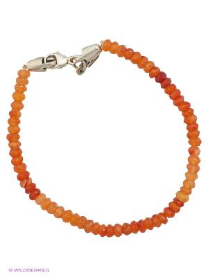 Браслет из сердолика Amorem. Цвет: серебристый, оранжевый