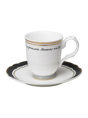 Набор из 2-х чашек для эспрессо MollyMarais. Цвет: черный, золотистый, белый