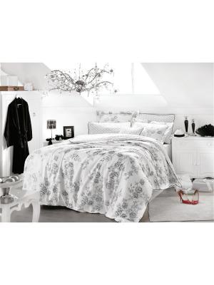 Комплект постельного белья ROSE ART сатин, 200ТС, евро ISSIMO Home. Цвет: белый