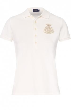 Хлопковое поло с вышитым логотипом бренда Polo Ralph Lauren. Цвет: кремовый