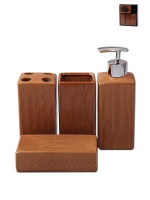 Набор для ванны 4 предмета: дозатор, подставка зубных щеток, стакан, мыльница PATRICIA. Цвет: коричневый