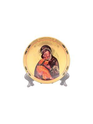 Тарелка декоративная Пресвятая Богородица Владимирская Elan Gallery. Цвет: золотистый, коричневый, красный