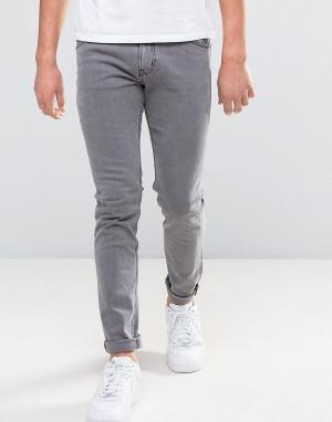 Weekday Серые выбеленные джинсы зауженного кроя Friday. Цвет: серый