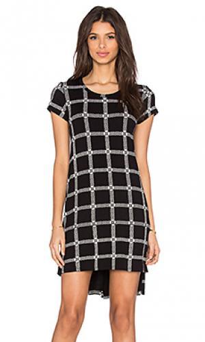 Платье с разрезом сбоку и длинным рукавом lucky Michael Lauren. Цвет: черный