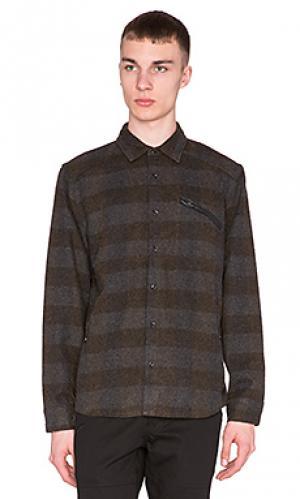 Рубашка с длинными рукавами moose ourCASTE. Цвет: серо-коричневый