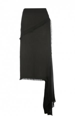 Юбка-миди асимметричного кроя с бахромой Damir Doma. Цвет: черный