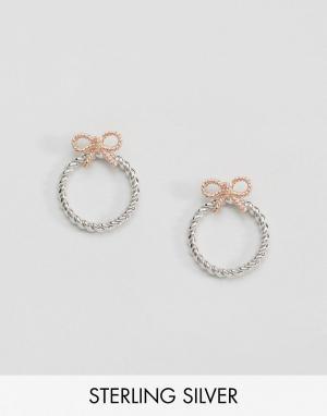 Olivia Burton Серьги-кольца с бантами в винтажном стиле. Цвет: золотой