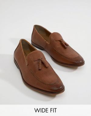 ASOS Светло-коричневые кожаные лоферы для широкой стопы с кисточками D. Цвет: рыжий