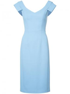 Платье с рукавами-кэп Black Halo. Цвет: синий