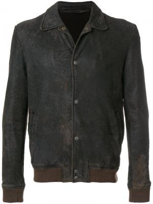 Приталенная байкерская куртка Salvatore Santoro. Цвет: коричневый