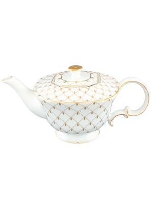 Чайник Золотая сетка Elan Gallery. Цвет: белый, золотистый