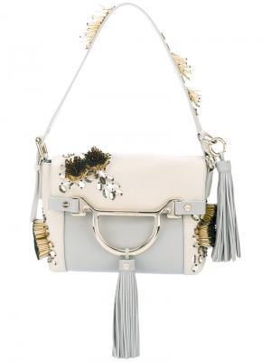 Декорированная сумка на плечо Borbonese. Цвет: телесный