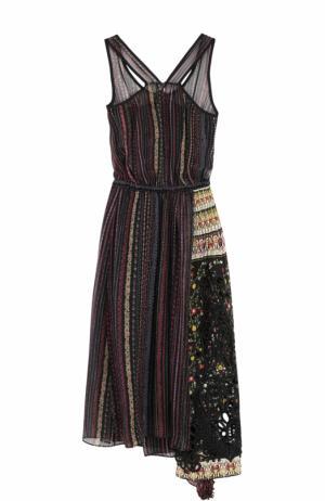 Шелковое платье асимметричного кроя с принтом No. 21. Цвет: разноцветный