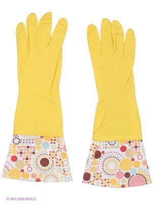 Перчатки латексные Magic Home. Цвет: желтый