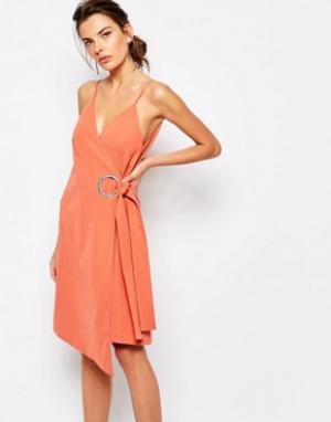 C/meo Collective Платье с запахом и кольцами On Line. Цвет: красный