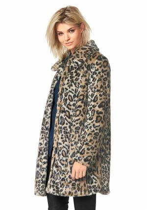 Пальто из искусственного меха Laura Scott. Цвет: бежевый