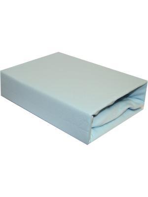 Простыня трикотажная, на резинке 160х200+20 Dorothy's Home. Цвет: голубой