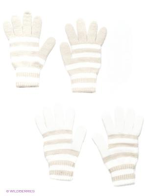 Перчатки, 2 пары FOMAS. Цвет: бежевый, белый