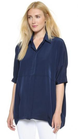 Рубашка на пуговицах HATCH. Цвет: темно-синий