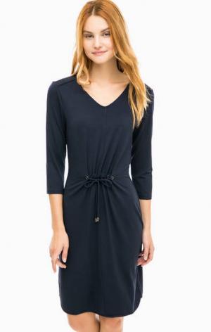 Синее платье из вискозы с шнуром на талии olsen. Цвет: синий
