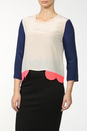 Блуза SALONI. Цвет: синий, бежевый, оранжевый
