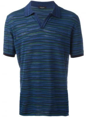 Полосатая футболка-поло Roberto Collina. Цвет: синий