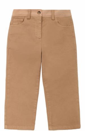 Хлопковые брюки прямого кроя с логотипом бренда No. 21. Цвет: бежевый