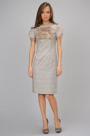 Приталенное платье с декором Modika. Цвет: бежевая клетка, отделка шифон