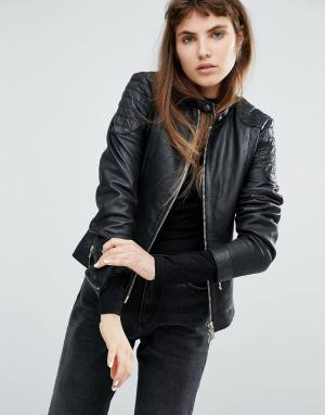 Goosecraft Кожаная куртка без воротника со стеганой отделкой. Цвет: черный