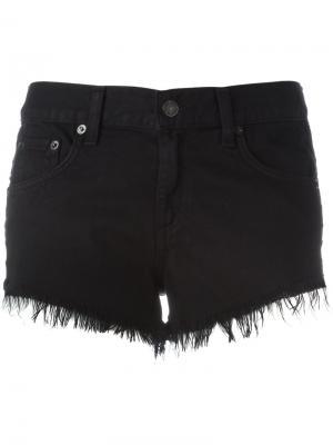 Джинсовые шорты с бахромой Rag & Bone /Jean. Цвет: чёрный