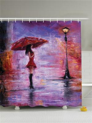 Фотоштора для ванной Девушка под зонтиком, 180*200 см Magic Lady. Цвет: коричневый, красный, оранжевый, сиреневый, фиолетовый, черный