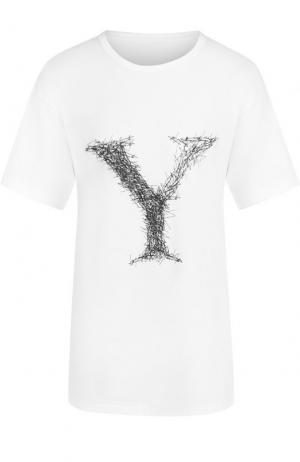 Хлопковая футболка с принтом Yohji Yamamoto. Цвет: белый