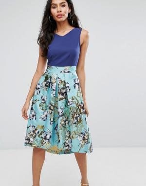 Closet London Расклешенная юбка с цветочным принтом. Цвет: мульти