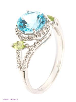 Кольцо SOKOLOV. Цвет: салатовый, голубой, серебристый