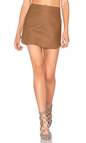 Кожаная юбка jacob Karina Grimaldi. Цвет: коричневый