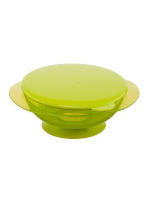 Тарелка на присоске с крышкой FEEDING BOWL Happy Baby. Цвет: салатовый