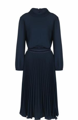 Приталенное платье-миди с плиссированной юбкой Tara Jarmon. Цвет: темно-синий