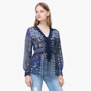 Блузка с рисунком и длинными рукавами DESIGUAL. Цвет: темно-синий