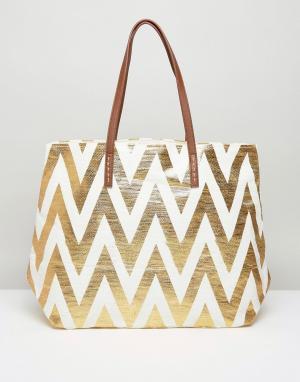 Vincent Pradier Пляжная сумка с золотистой молнией. Цвет: золотой