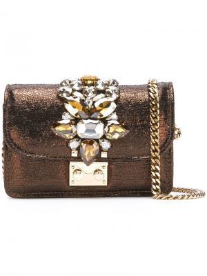 Декорированная сумка на плечо Gedebe. Цвет: коричневый