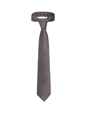 Классический галстук Знакомство в Сан Диего с оригинальным принтом Signature A.P.. Цвет: коричневый, белый