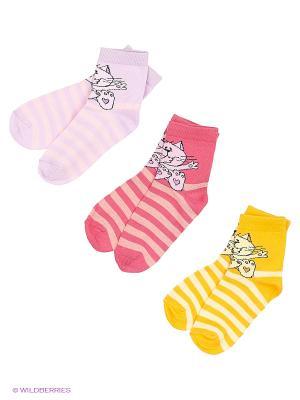 Носки, 3 пары Гамма. Цвет: сиреневый, малиновый, желтый