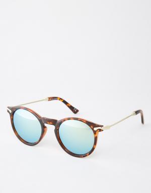 ASOS Круглые солнцезащитные очки с металлическими дужками и зеркальными сте. Цвет: коричневый