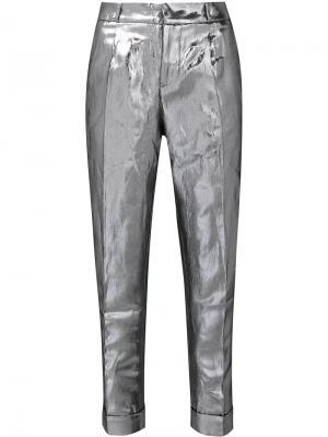 Прямые брюки Les Animaux. Цвет: металлический