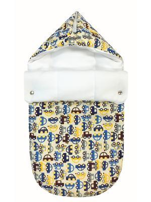 Конверт на выписку JustCute Машинки (весна) СуперМаМкет. Цвет: синий, желтый