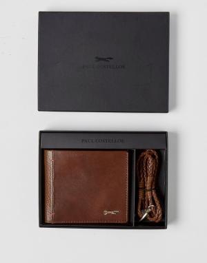 Paul Costelloe Кожаный бумажник и плетеный браслет. Цвет: рыжий