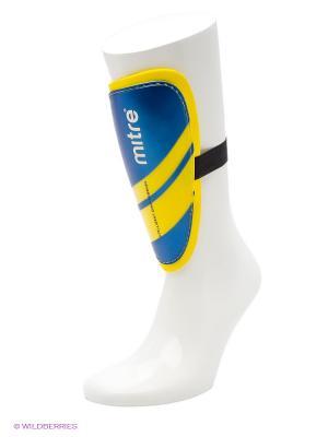 Щитки футбольные MITRE Tungsten Slip без голеностопа. Цвет: синий, желтый